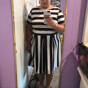 Stripe Simply Be Fit and Flare Dress